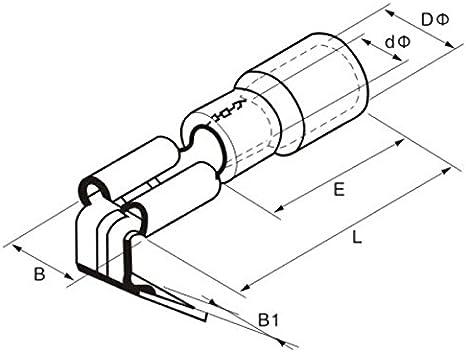 25x Flachsteckh/ülse mit Abzweig 0,5-1,5mm/² rot ; f/ür Flachstecker 0,8x6,4mm