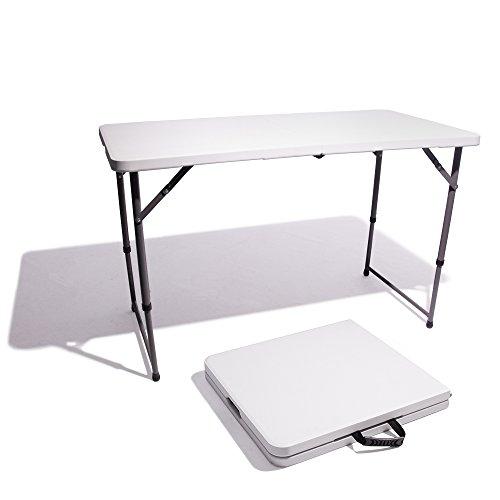 Vispronet Resin Multipurpose Rectangle Table - Center Folding with Locking Legs (4-Feet) (4' Resin Multi Purpose Table)