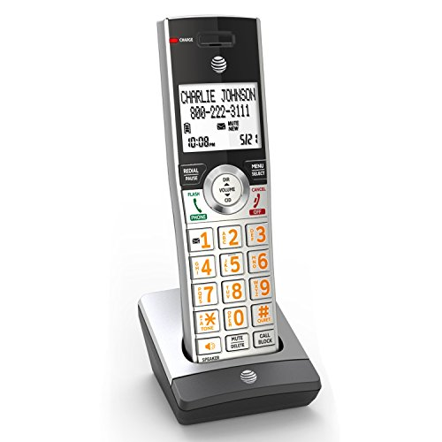 AT&T CL80107 Cordless Accessory Handset for AT&T CL82207 & Other Models, Silver/Black