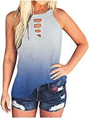 TIMIFIS Tank Tops for Women Casual Sleeveless Tank Blouses Loose O Neck Vest Tops Fashion Tie Dye Summer Tank