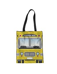 Nopersonality Cotton and Linen Tote Canvas Bag Canvas Shopping Bag for Student Teens Girls Yellow Hnadbag Printed School Bus