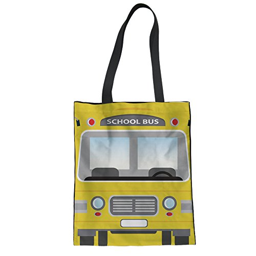 Showudesigns School Bus Design Canvas Tote Bag Student College Girls Satchel Handbag Shopping Bag
