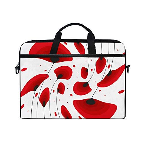 Laptop Bag for Men Women Red Poppy Flowers Floral Dot Lighweight Canvas Shoulder Messenger Bag for 14-15 inch Notebook