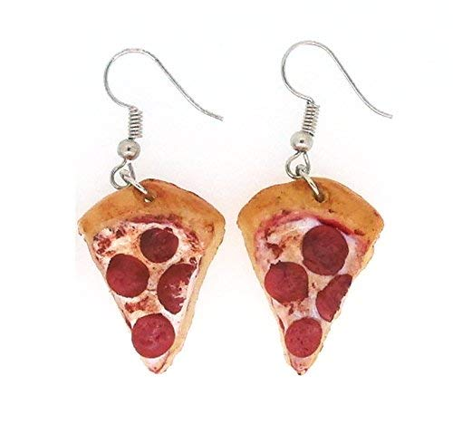 Best Wing Jewelry Pepperoni Pizza Polymer Clay Big Dangle Earrings