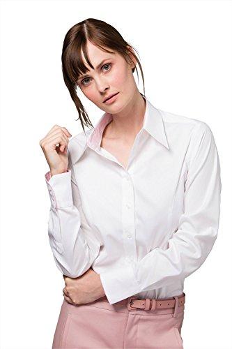 Kustom Kit para mujer de contraste superior Oxford camiseta de manga larga Light Blue/ Navy