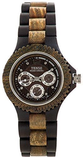 Tense Two Tone Dark & Green Sandalwood M - Tone Round Faced Watch Shopping Results