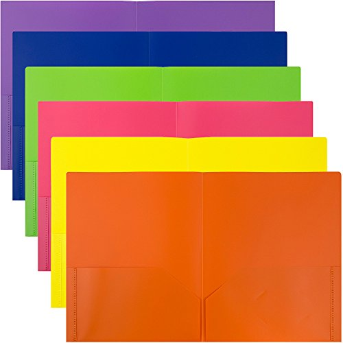 JAM PAPER Plastic 2 Pocket School POP Folders - Assorted Primary Colors - 6/pack