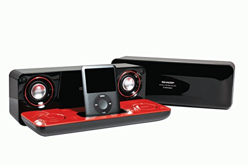 Sharp i-Elegance Music System for iPod and MP3 Players (High Gloss Red/Black) by Sharp (Image #2)