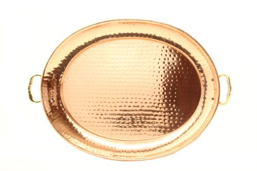 "Old Dutch Hammered Copper Oval Tray with Cast Brass Handle, 15"" x 11"""