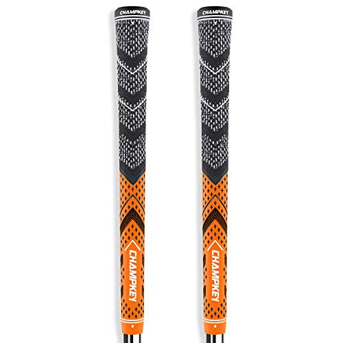 Champkey Victor Golf Grips Set of 2(Free 2 Tapes & Clean Cloth Included) - All Weather Cord Rubber Golf Club Grips Ideal for Clubs Wedges Drivers Irons Hybrids (Orange/Grey, Midsize)