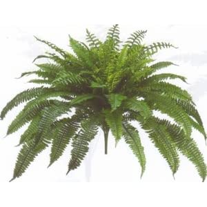 One Designer Quality 50 Inch Spread 92 Branch Artificial Silk Boston Fern Bush Plant 58