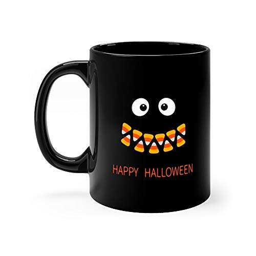 Happy Halloween Scary Face Smiling Emotions Big Eyes Mouth Candy Corn Smile Teeth Vampire Tooth Fang Baby Greeting Flat Des Milk Mug Ceramic -