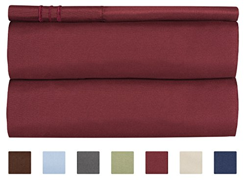 Twin Size Sheet Set - 3 Piece Set - Hotel Luxury Bed Sheets - Extra Soft - Deep Pockets - Easy Fit - Breathable & Cooling - Wrinkle Free - Comfy – Burgundy Bed Sheets - Twin Sheets – 3 (Big Twin Size Bed)
