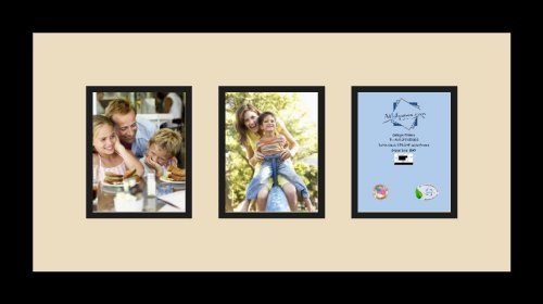 ArtToFrames Collage Photo Frame Double Mat with 3-4x5 Openings with Satin Black Frame and Oyster mat. ()