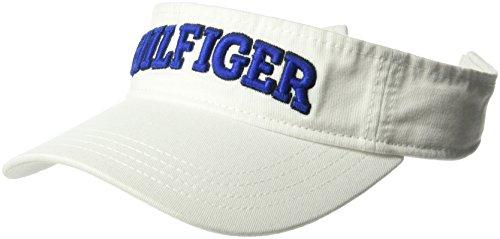 Tommy Hilfiger Men's Dad Hat Hilfiger Varsity Visor, Classic White, O/S