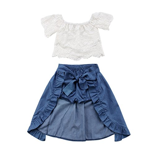 - Toddler Baby Girl Lace Flower Off Shoulder Crop Top Denim Shorts Maxi Skirt Outfits Summer Clothes Set (lace Shirt + Short Jeans+Denim Skirt,2-3 Years)