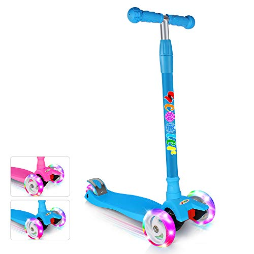 BELEEV Scooter for Kids Kick Scooter 3 Wheel, 4 Adjustable Height, Lean to Steer with LED Light Up Big Wheels for Children from 3 to 13 Years Old (Blue)