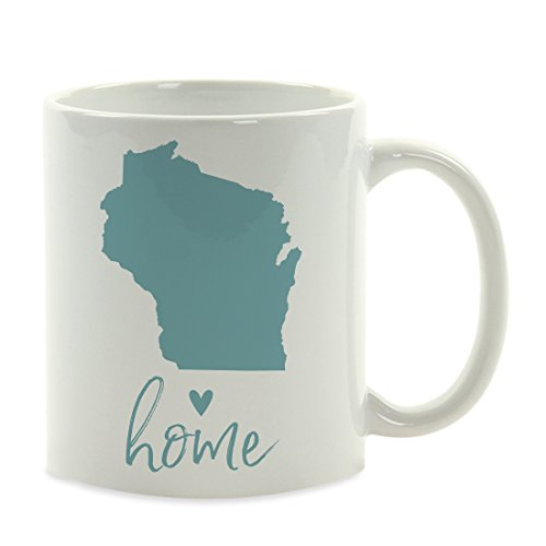 Andaz Press 11oz. US State Coffee Mug Gift, Aqua Home Heart, Wisconsin, 1-Pack, Unique Hostess Distance Moving Away Christmas Birthday Gifts for -