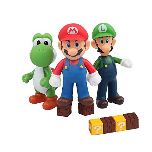 - HXDZFX 9 PCS Mario and Luigi Toys Figurines - Super Mario Action Figures Toys - Yoshi & Mario Bros - Mario Toy for Boys - Premium Mario Cake Toppers Decoration