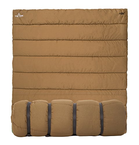 TETON Sports 1350 Evergreen Canvas Double Sleeping Bag; Warm and Comfortable Queen Size Sleeping Bag Great for Camping, Fishing, and Hunting, or Snuggling Up by The Campfire When It's Cold -