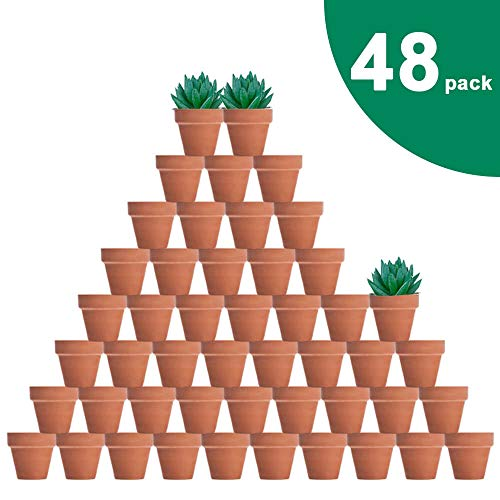 (vensovo 48 Pcs Tiny Terracotta Pots - 2 inch Small Mini Clay Pots with Drainage Holes Flower Nursery Terra Cotta Pots for Indoor/Outdoor Succulent Plants, Crafts, Wedding)