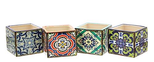 - Set of 4 Mini Cube Planters with Mediterranean Tile Motif