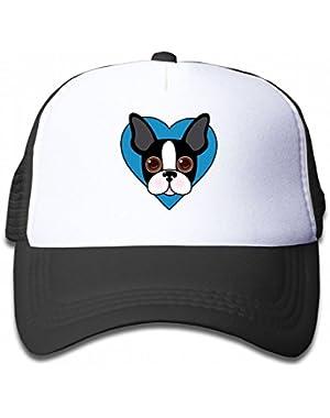 Boston Terrier Dog Face Youth Toddler Mesh Hats Kid Baseball Trucker Cap