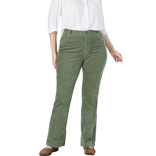 - Woman Within Women's Plus Size Petite Stretch Corduroy Bootcut Jean - Olive Green, 22 WP