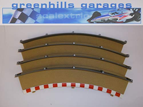 (Greenhills Scalextric Standard Curve Outer Borders & Fences x 4 Stone C8228 - Used - MACC85 =)