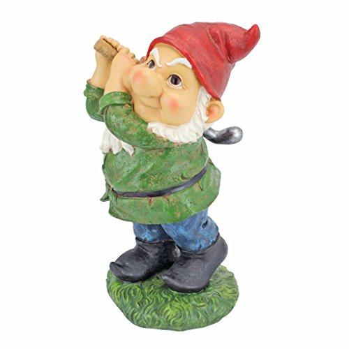 Design Toscano QM2458200 Bigey Burt Funny Golfing Garden Gnome Statue, 12 inch, Full Color