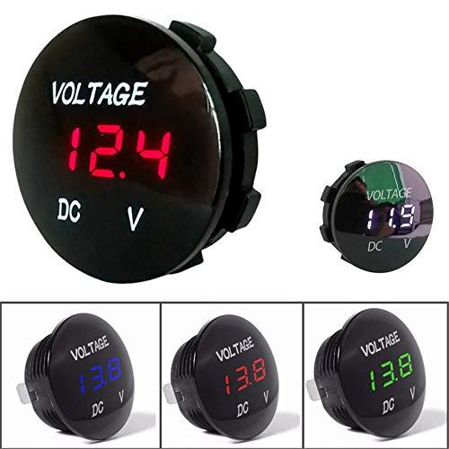 5-48V Panel Volt/ímetro Medidor de Voltaje el/éctrico Volt Tester para Auto Car Motorcycle Ship Impermeable Blanco Estilo Transparente Negro