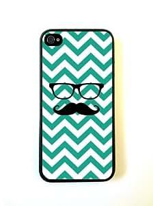 Hipster Mustache Emrald Green Chevron Black- iPhone 5 Case - For iPhone 5/5G - Designer PC Case