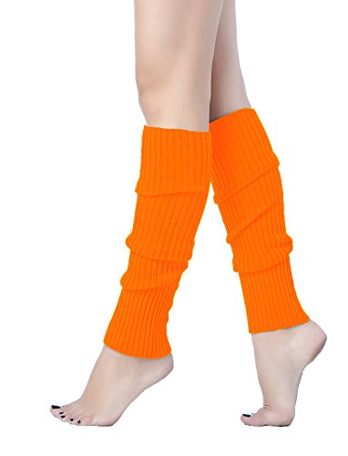 (Women Winter Warm Leg Warmers Knitted Long Socks (one size, Orange))