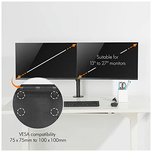 """VonHaus Dual Monitor Mount for 13-27"""" Screens – Double Arm Desk Stand Bracket with Clamp – Ergonomic 90° Tilt, 360° Rotation & Twin 180° Swivel Arms – VESA Dimensions: 75×75-100×100"""