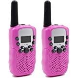 Mingnia Walkie Talkies for Kids Rechargeable Two Way Radio 2 Pack with Batteries (Pink)