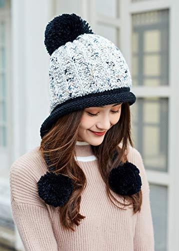 afd4960804a HUAMULAN Women Skull Beanie Hat Peruvian Cap Winter Fleeced Ski Ear Flaps  Pompoms