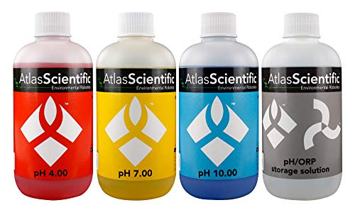 (Atlas Scientific pH 4.00, 7.00, 10.00, pH Electrode Storage Calibration Solution 250ml - 8oz (Pack of 4))
