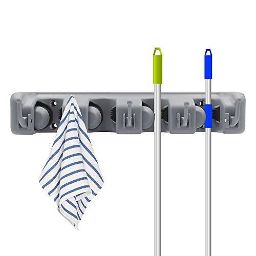 Digital Ant Mop and Broom Holder, Wall Mounted Garden Tool Storage Tool Rack Storage & Organization for Your Home, Closet, Garage and Shed (4 Positions with 5 Hooks)