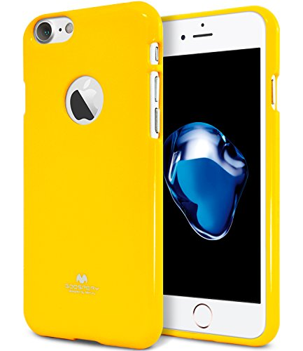 iPhone 7 Case, [Thin Slim] GOOSPERY [Flexible] Color Pearl Jelly Rubber TPU Case [Lightweight] Bumper Cover [Impact Resistant] for iPhone 7 (Yellow) IP7-JEL-YEL