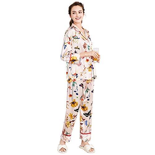 Belle Heure Women's Pajamas Set Long Sleeve Silky Satin Classic Floral Pj Set XS-2XL -