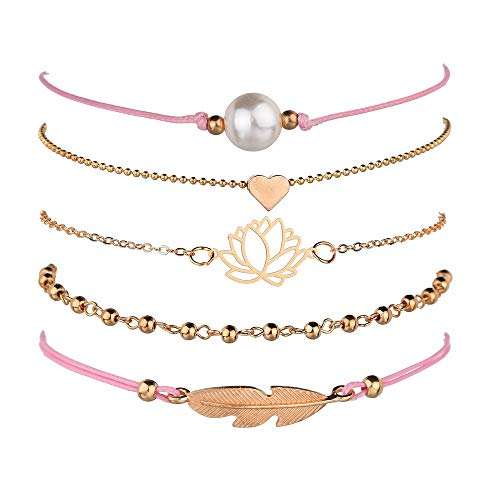 Unew Beaded Bracelets for Women - Adjustable Charm Pendent Stack Bracelets for Women Girl Friendship Gift Rose Quartz Bracelet Links with Pearl Golds Plated 5pcs/Set (Feather & Lotus) -