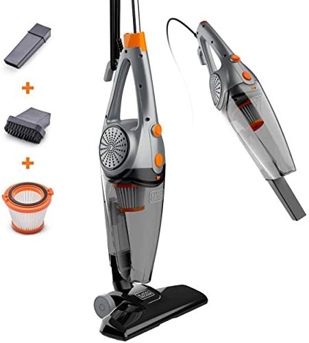 BLACK+DECKER 3-In-1 Upright, Stick & Handheld Vacuum Cleaner with Washable HEPA Filter, Powerful Corded 480-Watt Motor, Ultra Lightweight with Crevice Tool & Small Brush Attachments, Gray (BDXHHV005G)