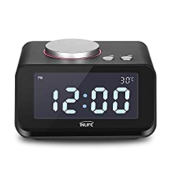 INLIFE Dual Alarm Clock with FM Radio, USB Phone Charging, Speaker, Indoor Thermometer, Dimmer Control, Snooze Function
