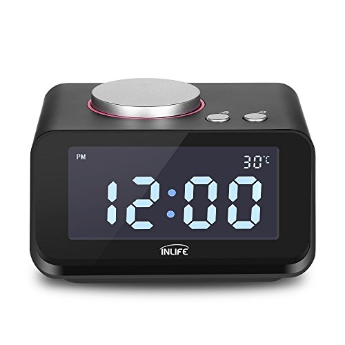 INLIFE-Dual-Alarm-Clock-with-FM-Radio-USB-Phone-Charging-Speaker-Indoor-Thermometer-Dimmer-Control-Snooze-Function