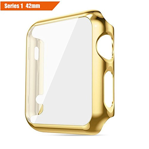 ICE FROG iWatch Series 1/2/3 42mm Case, Electroplate Metal Plated PC Slim Hard Protective Bumper HD Screen Protector Full Cover Case for Apple Watch Series 1/2/3 42mm - Gold