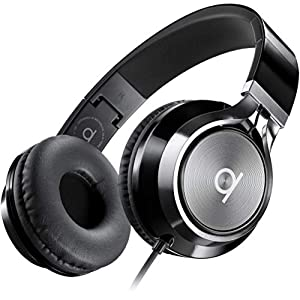 Artix CL750 Foldable Noise Isolating On Ear Headphones Wired with Microphone and Volume Control, Stereo Head Phones Corded with Adjustable Headband for Computer, Laptop and Cell Phone