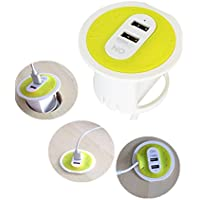 ON SMART SOLUTION Grommet Hole 2-Port USB Desktop Charging Station- 15.5W Universial (100v~240V) Compact Travel Charger. 6ft Power Cable For iPhone,HTC,LG and more- Yellow
