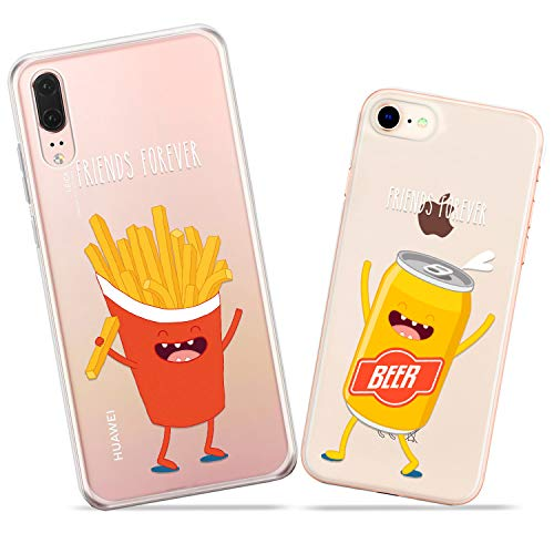 Wonder Wild Fries and Beer Pair Case iPhone Xs Max X Xr 10 8 Plus 7 6s 6 SE 5s 5 TPU Clear Gift Apple Phone Cover Print Protective Double Pack Silicone Alcohol Can Fastfood Matching Perfect Couple ()