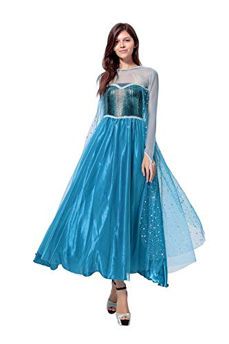 Peachi Halloween Adult Dress Costume Inspired by Disney Frozen Queen Elsa (M)