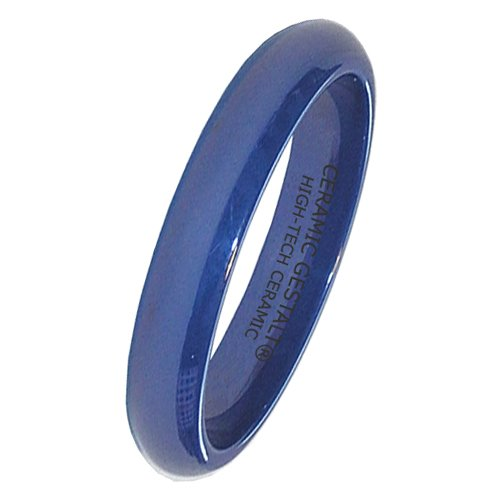 Blue Ceramic Ring by CERAMIC GESTALT - 4mm Width. Domed & Polished. (Avail. Sizes 5 to 14) Size 8.5 - RB4DP85 by CERAMIC GESTALT